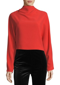 Diane von Furstenberg Long-Sleeve High-Neck Crepe Blouse