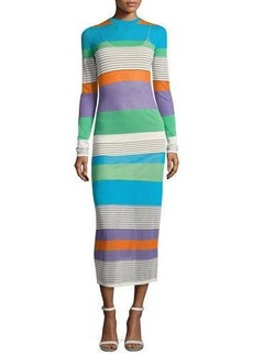 Diane von Furstenberg Long-Sleeve Knit Colorblock Midi Dress