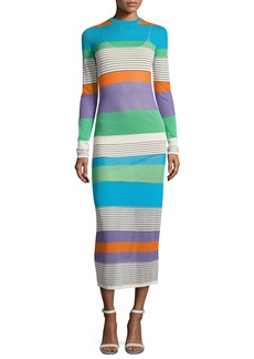 Diane von Furstenberg Long-Sleeve Knit Colorblock Midi Dress