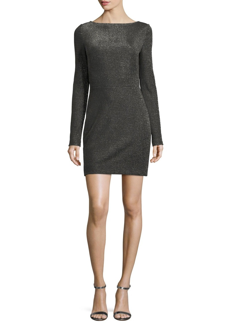 Diane von Furstenberg Long-Sleeve Metallic-Knit Mini Dress
