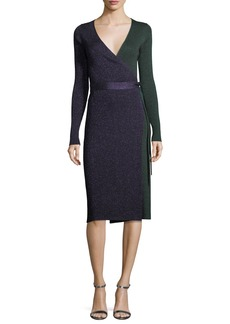 Diane von Furstenberg Long-Sleeve Metallic-Knit Wrap Dress