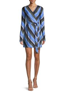 Diane von Furstenberg Long-Sleeve Mini Woven Wrap Dress