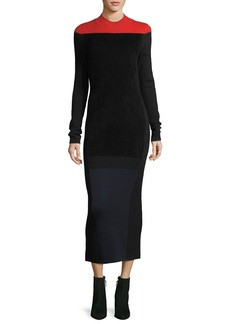 Diane von Furstenberg Long-Sleeve Mock-Neck Wool-Blend Knit Midi Dress