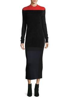 Diane von Furstenberg Long-Sleeve Mock-Neck Wool-Blend Knit Midi Dress