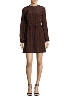Diane von Furstenberg Long-Sleeve Polka-Dot Silk Mini Dress