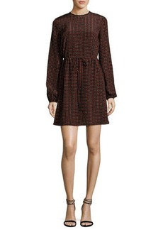 Diane von Furstenberg Long-Sleeve Polka-Dot Silk Mini Dress