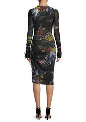 Diane Von Furstenberg Long-Sleeve Ruched Floral-Print Body-Con Dress