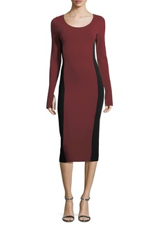 Diane von Furstenberg Long-Sleeve Scoop-Neck Two-Tone Midi Knit Dress