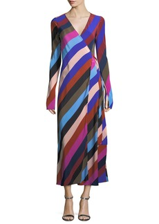 Diane von Furstenberg Long-Sleeve Striped Silk Wrap Dress