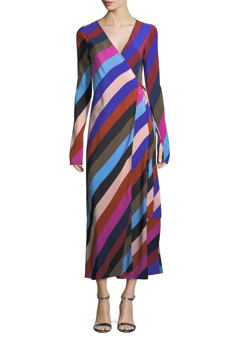 Diane von Furstenberg Long-Sleeve Striped Silk Wrap Dress