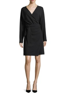 Diane von Furstenberg Long-Sleeve V-Neck Crepe A-Line Wrap Dress