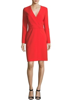 Diane Von Furstenberg Long-Sleeve V-Neck Crepe Sheath Dress