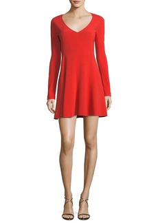 Diane von Furstenberg Long-Sleeve V-Neck Fit-and-Flare Mini Dress