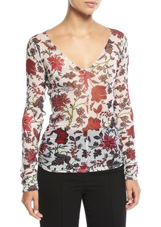 Diane Von Furstenberg Long-Sleeve V-Neck Fitted Top