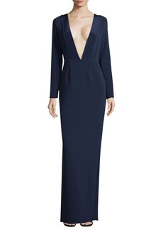 Long Sleeve Plunging-Neck Gown