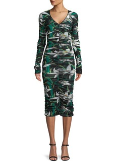 Diane von Furstenberg Long-Sleeve V-Neck Ruched Mesh Midi Dress