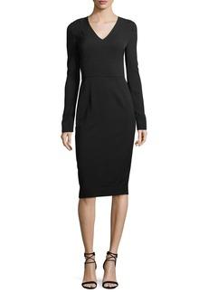 Diane von Furstenberg Long-Sleeve V-Neck Tailored Dress