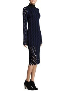 Diane von Furstenberg Long-Sleeve Wool Bodycon Midi Knit Dress