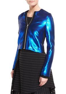 Diane von Furstenberg Long-Sleeve Zip-Front Metallic-Sheen Jacket
