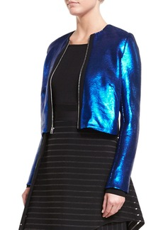 Diane von Furstenberg Long-Sleeve Zip-Front Metallic-Sheen Jacket