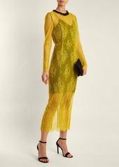 Diane Von Furstenberg Long-sleeved bead-embellished lace dress