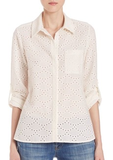 Diane Von Furstenberg Lorelei Two Cotton Eyelet Shirt