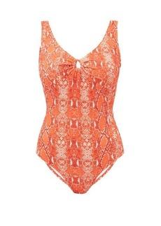 Diane Von Furstenberg Lori scoop-back python-print swimsuit