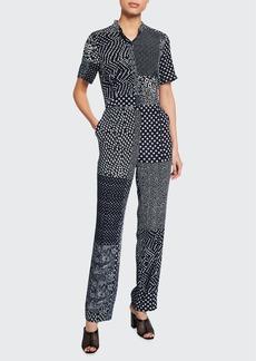 Diane von Furstenberg Lucy Patchwork Silk Shirt Jumpsuit