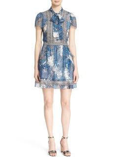 Diane von Furstenberg 'Marisa' Print Silk Tie Neck Dress