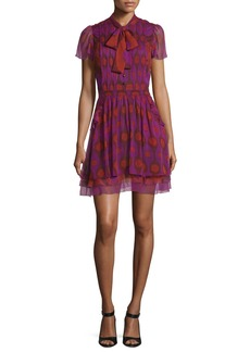 Diane von Furstenberg Marisa Printed Silk Tie-Neck Dress
