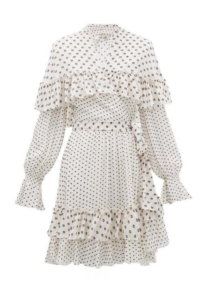 Diane Von Furstenberg Martina ruffled fil-coupé chiffon wrap dress