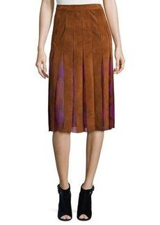 Diane von Furstenberg Melita Suede & Silk A-Line Midi Skirt