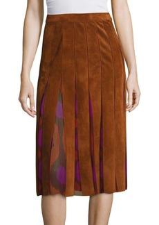 Diane von Furstenberg Melita Suede & Silk Chiffon Skirt