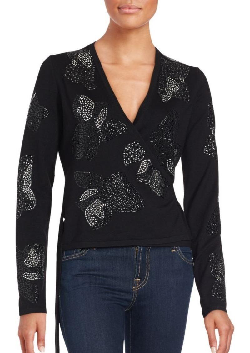Diane von Furstenberg Merino Wool Embellished Wrap Sweater