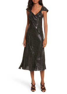 Diane von Furstenberg Metallic Dot Midi Dress