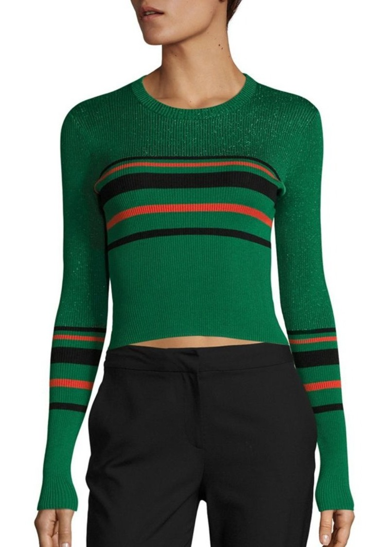 Diane von Furstenberg Metallic Striped Rib-Knit Cropped Pullover