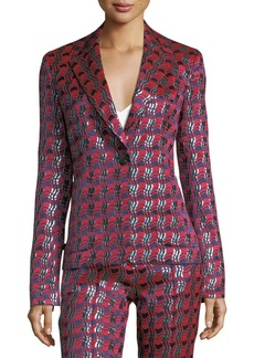 Diane von Furstenberg Metallic-Woven Tailored Jacket