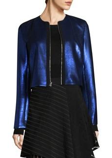 Diane Von Furstenberg Metallic Zip-Front Jacket