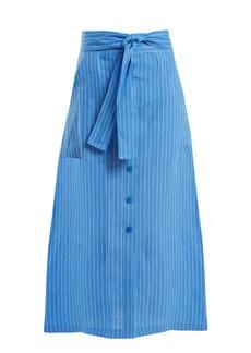 Diane Von Furstenberg Mid-rise striped linen skirt
