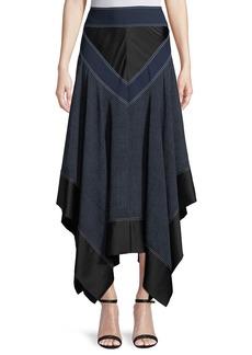 Diane von Furstenberg Midi Handkerchief Square-Hem Skirt