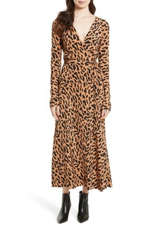 Diane von Furstenberg Midi Print Silk Wrap Dress