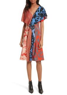 Diane von Furstenberg Mix Print Silk Ruffle Dress