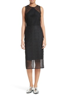 Diane von Furstenberg Mixed Lace Sheath Dress