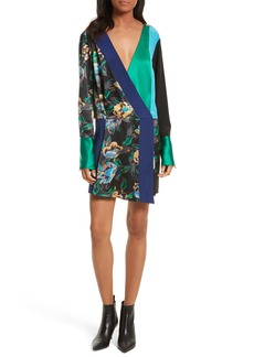 Diane von Furstenberg Mixed Media Crossover Silk Dress