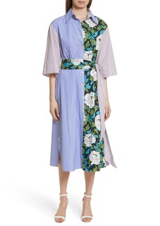 Diane von Furstenberg Mixed Print Cotton Shirtdress