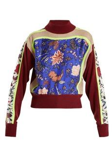 Diane Von Furstenberg Multi-print high-neck wool-blend sweater