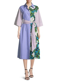 Diane von Furstenberg Multipattern 3/4-Sleeve Belted Shirtdress