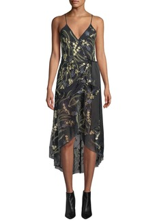 Diane von Furstenberg Narrah Embroidered Floral Sleeveless Wrap Dress
