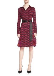 Diane von Furstenberg New Catherine Leather-Belted Shirtdress