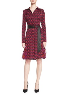 Diane von Furstenberg New Catherine Leather-Belted Shirtdress